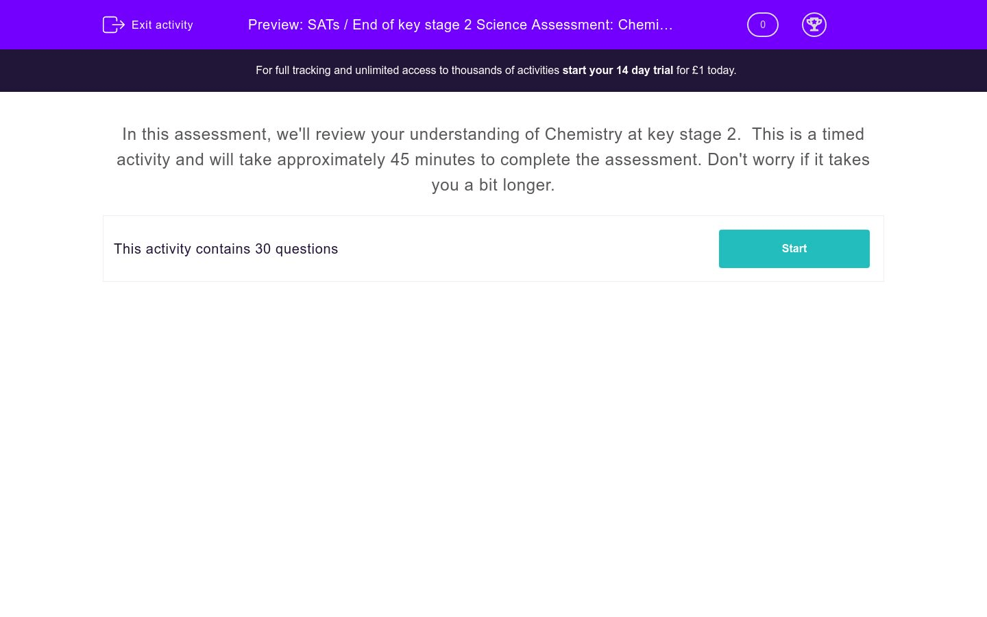 Sats End Of Key Stage 2 Science Assessment Chemistry