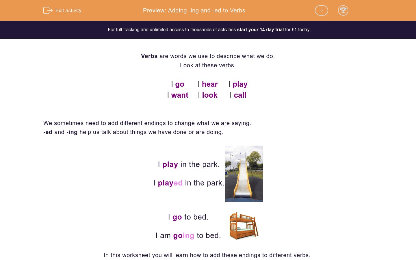 Adding Ing And Ed To Verbs Worksheet