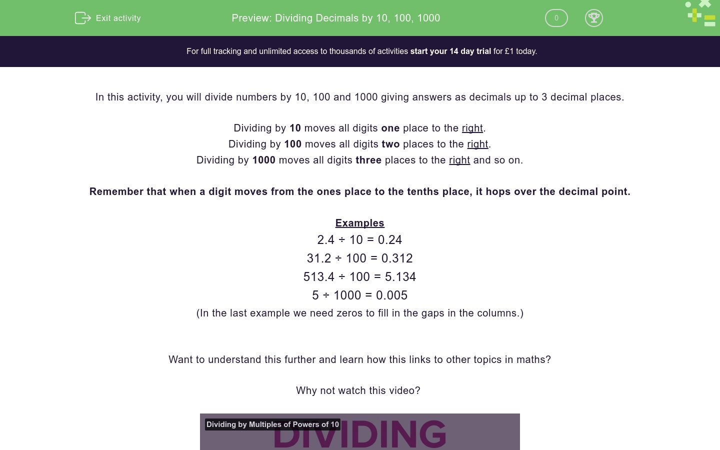 Dividing Decimals Differentiated Worksheet