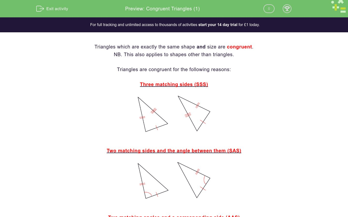 Identify Congruent Triangles Worksheet