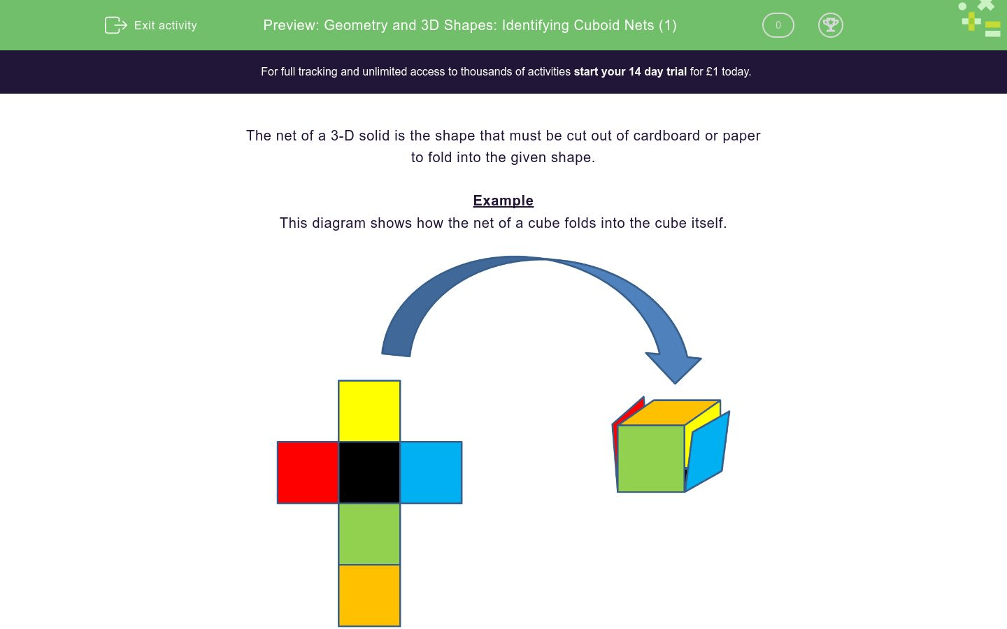 Geometry And 3d Shapes Identifying Cuboid Nets 1 Worksheet