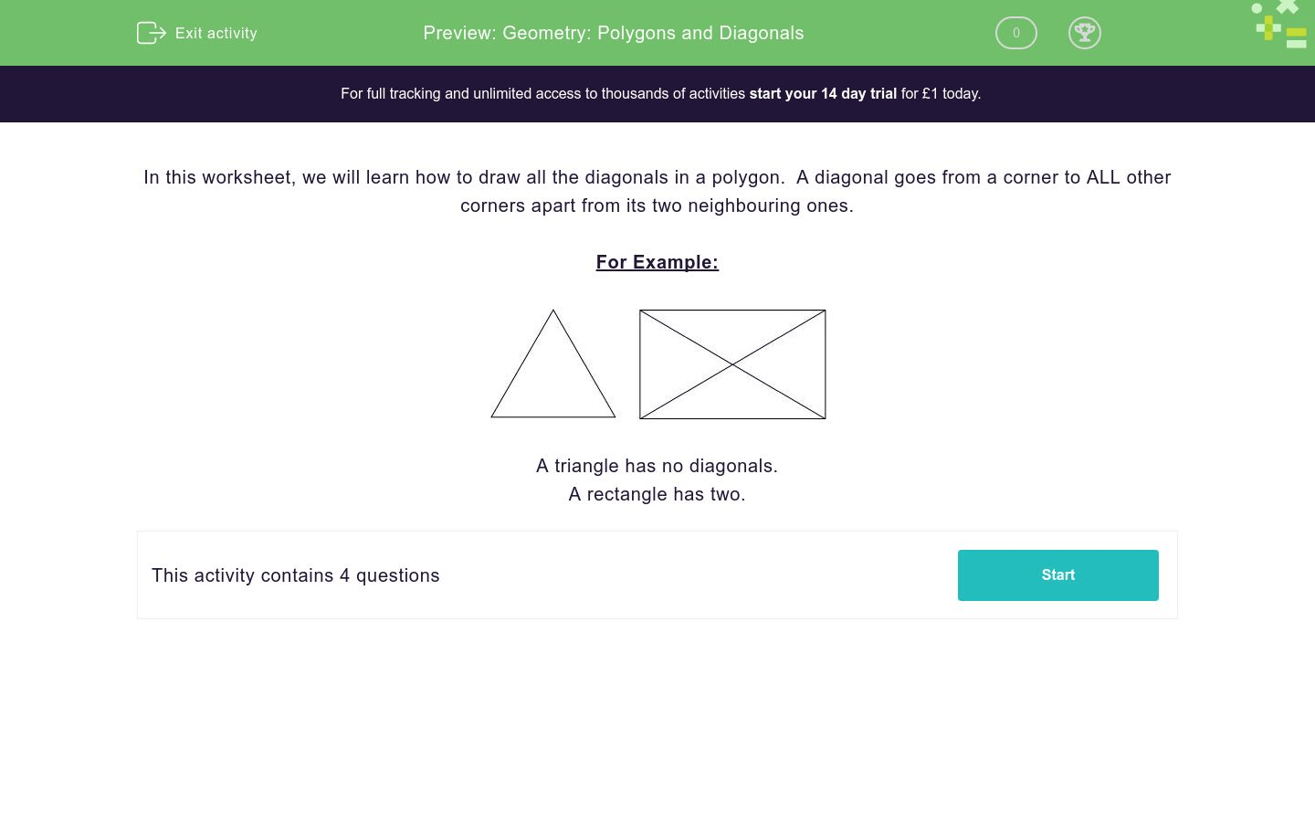 Geometry Polygons And Diagonals Worksheet