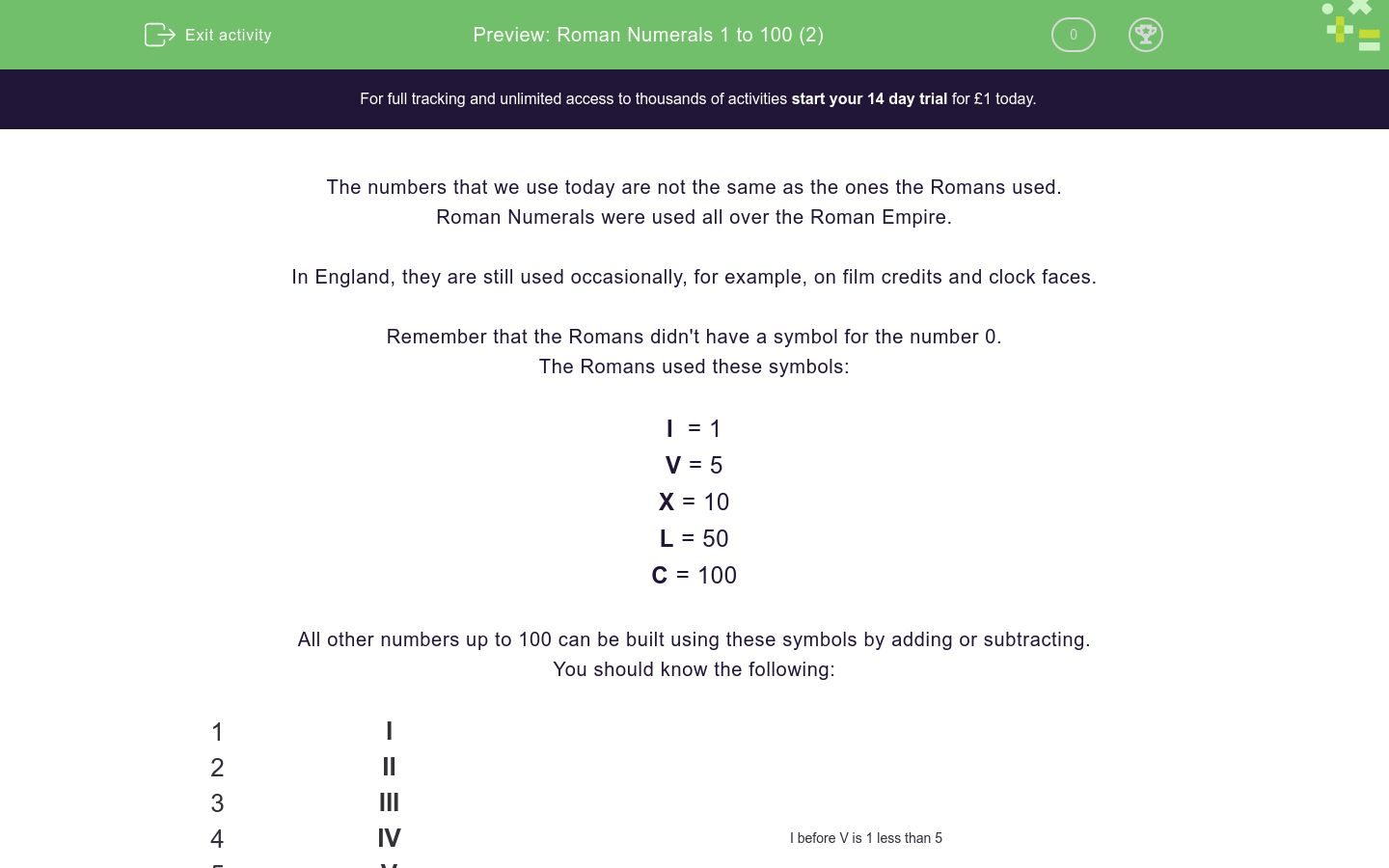 Roman Numerals 1 To 100 2 Worksheet