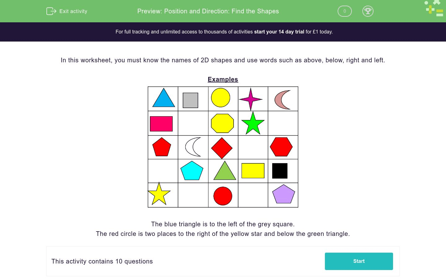 Position And Direction Find The Shapes Worksheet