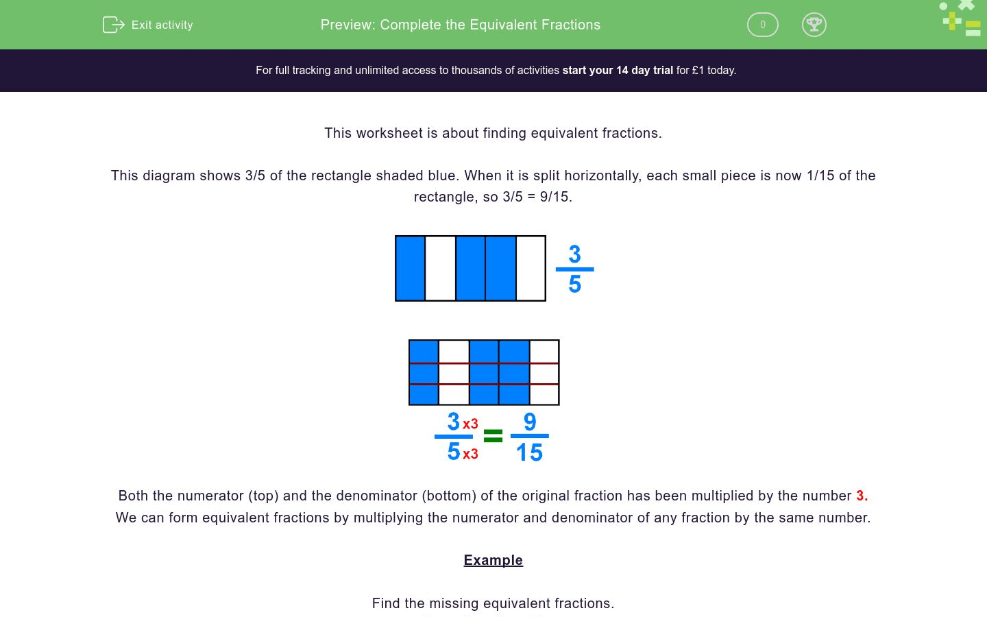 hight resolution of Complete the Equivalent Fractions Worksheet - EdPlace