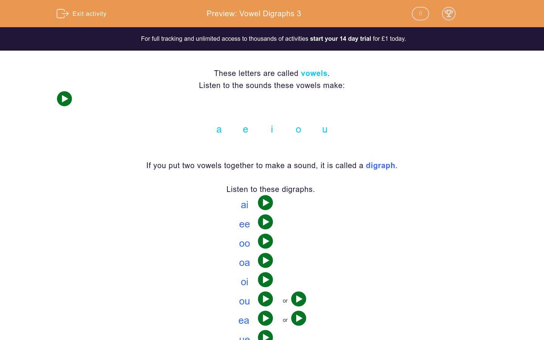 Vowel Digraphs 3 Worksheet