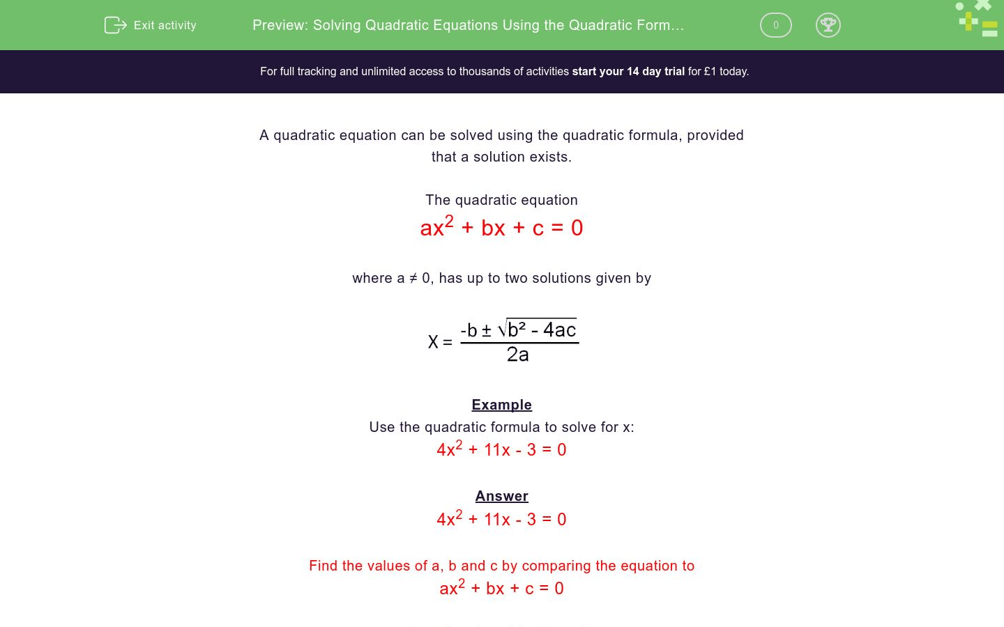 Solving Quadratic Equations Using The Quadratic Formula 1