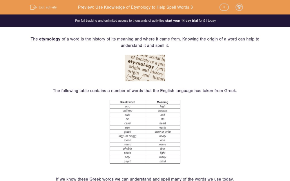 medium resolution of Use Knowledge of Etymology to Help Spell Words 3 Worksheet - EdPlace