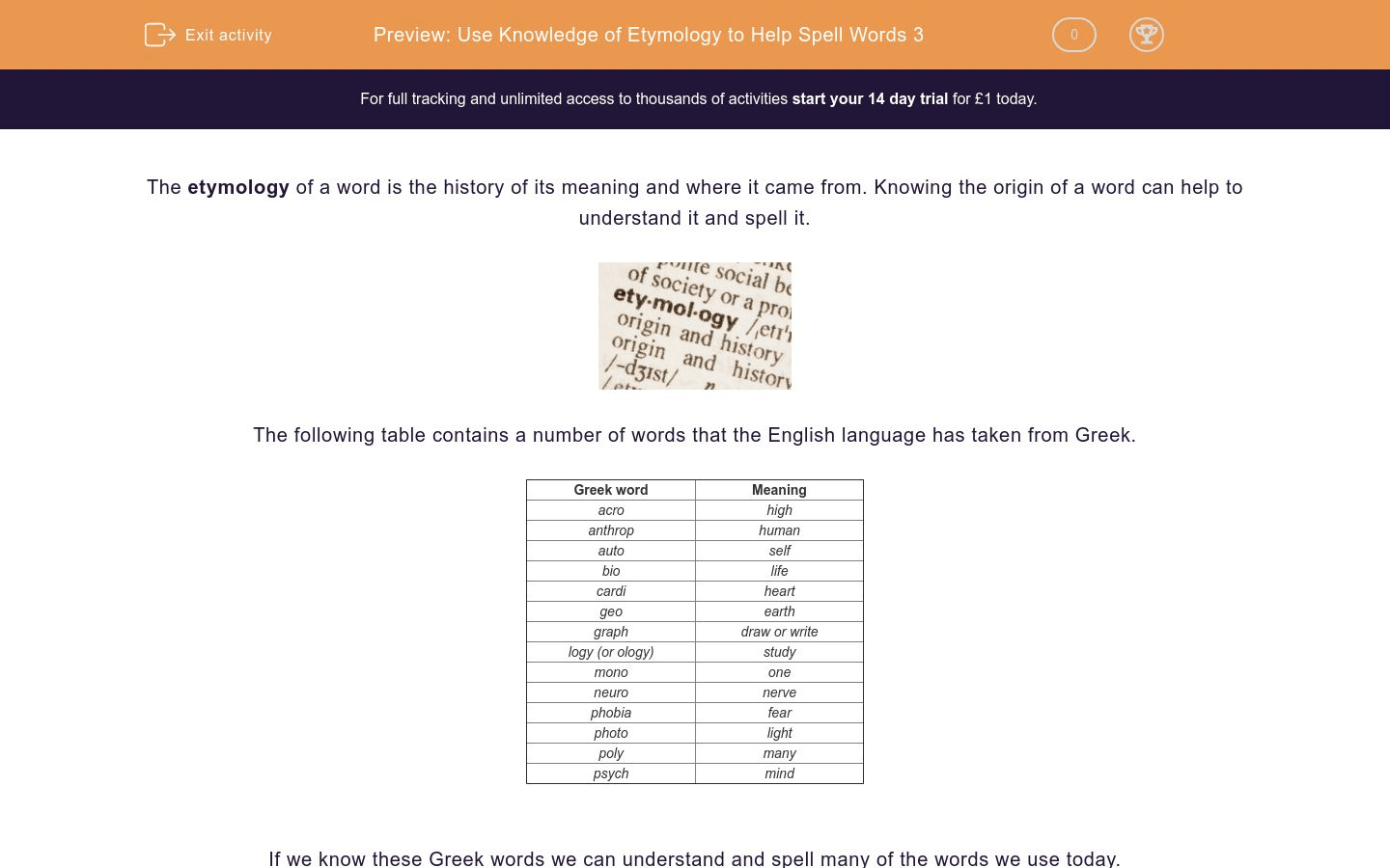 hight resolution of Use Knowledge of Etymology to Help Spell Words 3 Worksheet - EdPlace