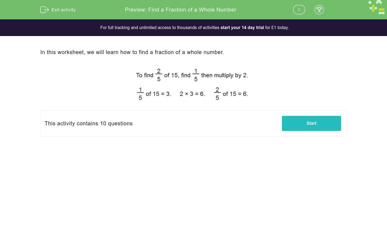 Find A Fraction Of A Whole Number Worksheet