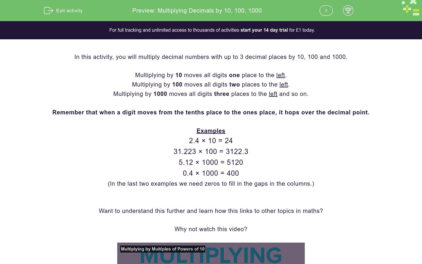 Multiplying Decimals By 10 100 Worksheet