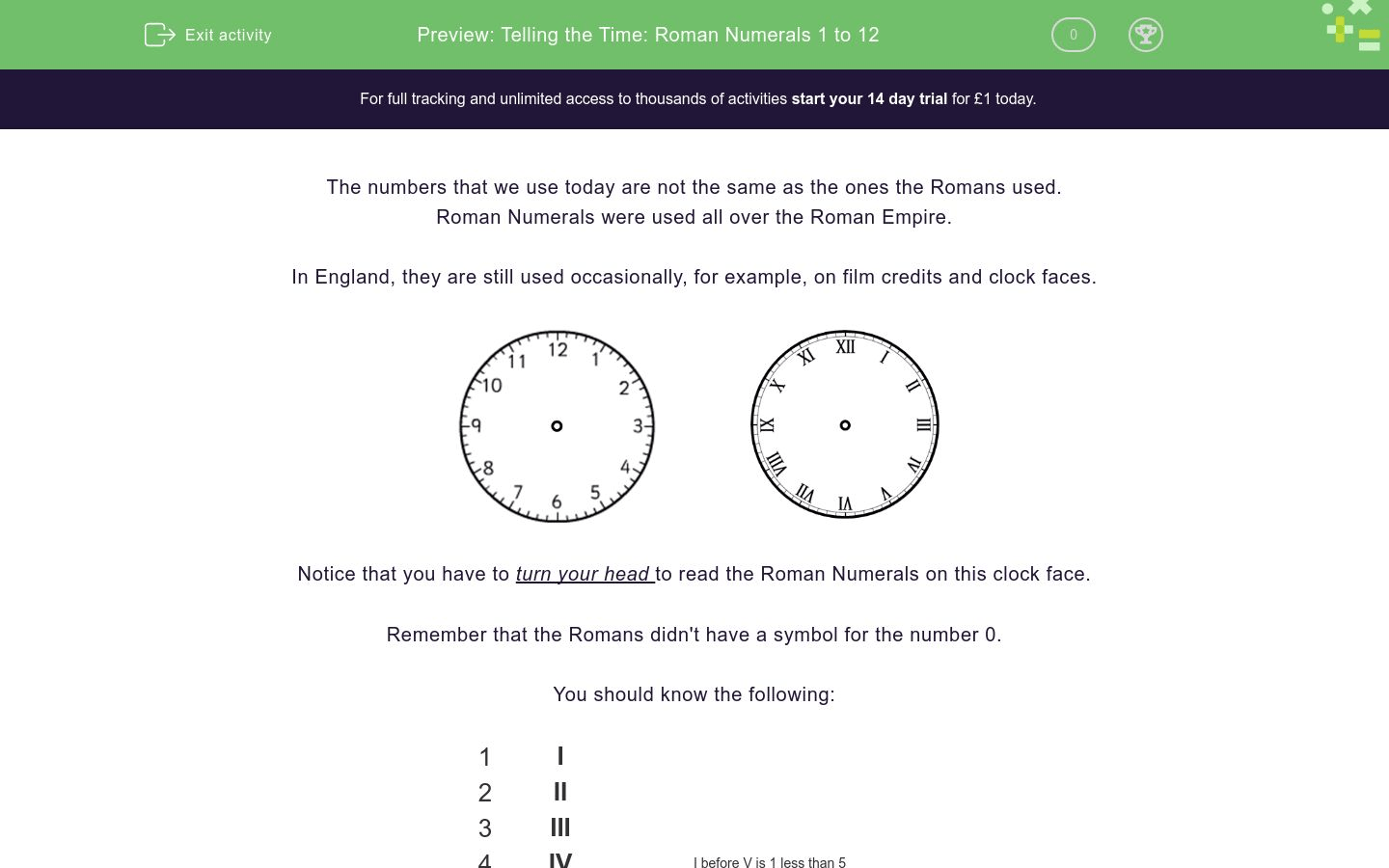 hight resolution of Telling the Time: Roman Numerals 1 to 12 Worksheet - EdPlace