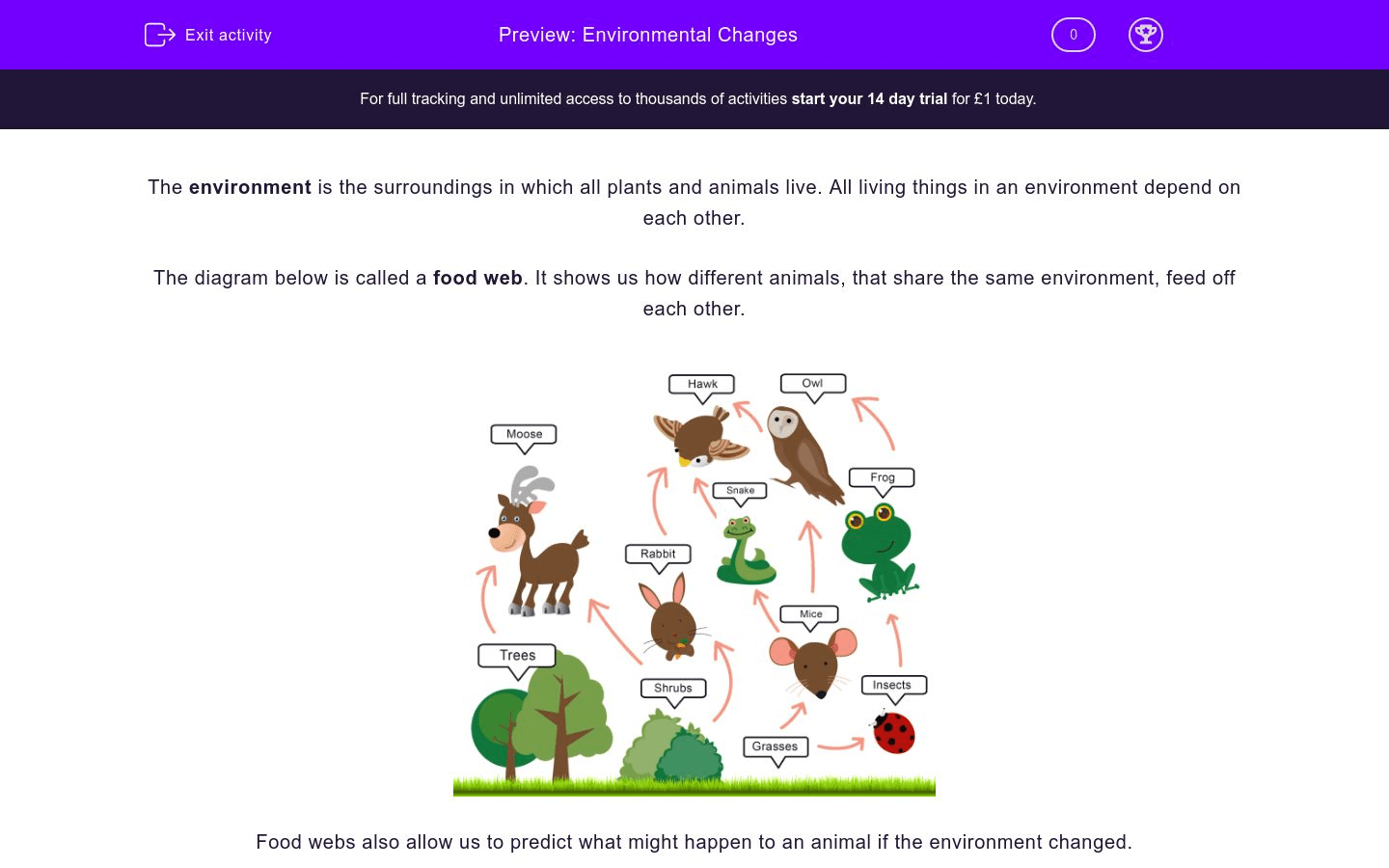 Environmental Changes Worksheet