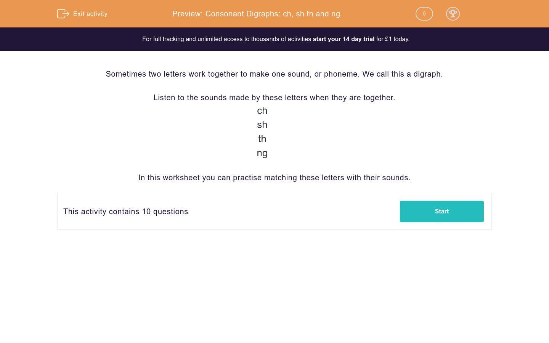 Consonant Digraphs Ch Sh Th And Ng Worksheet