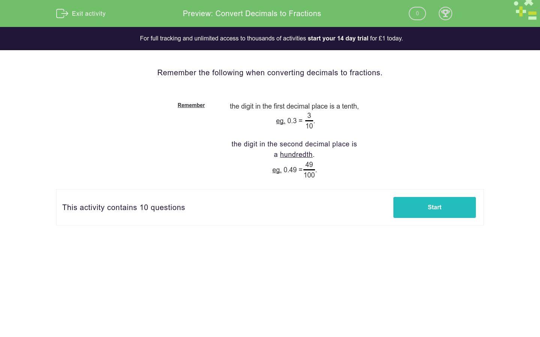 Convert Decimals To Fractions Worksheet