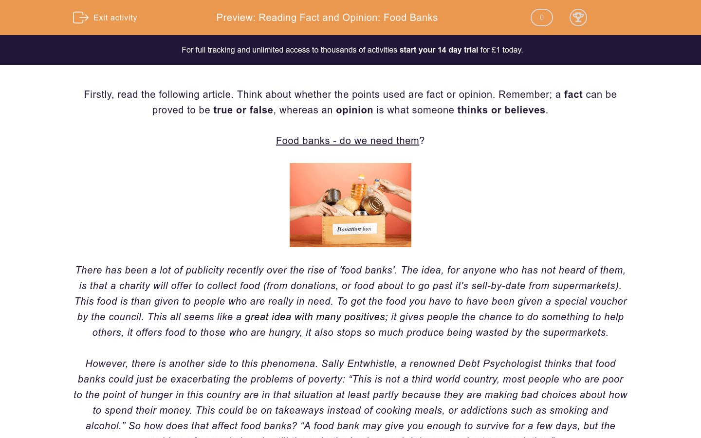 Reading Fact And Opinion Food Banks Worksheet