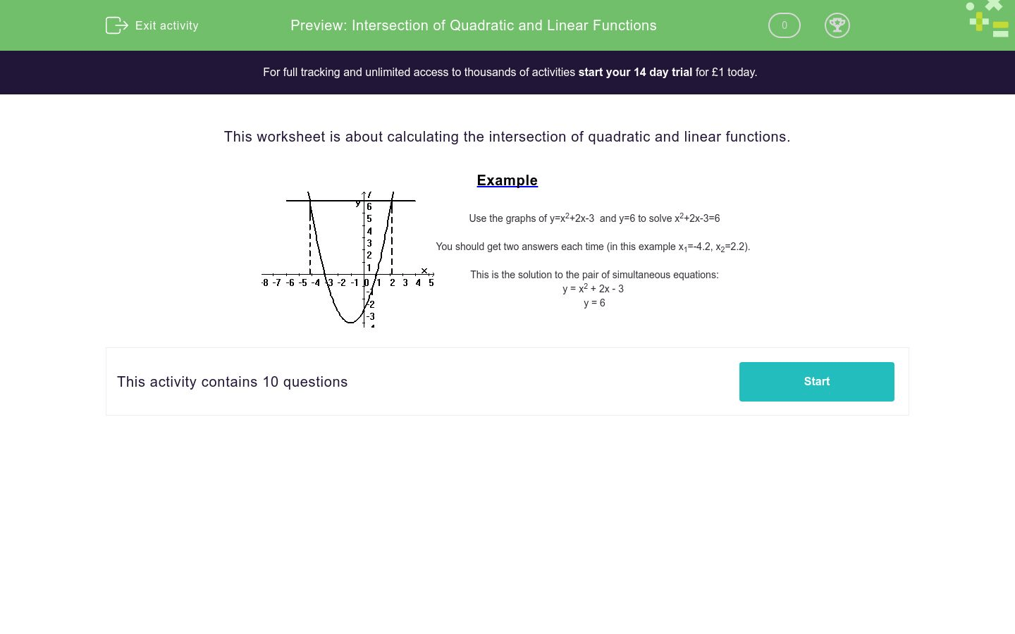 Intersection Of Quadratic And Linear Functions Worksheet