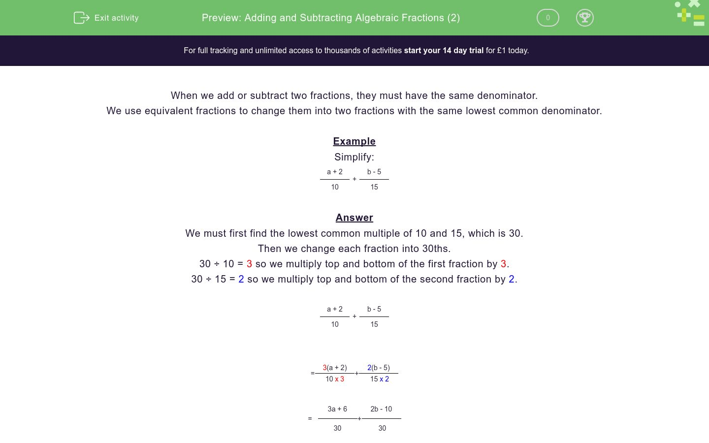 Adding And Subtracting Algebraic Fractions 2 Worksheet
