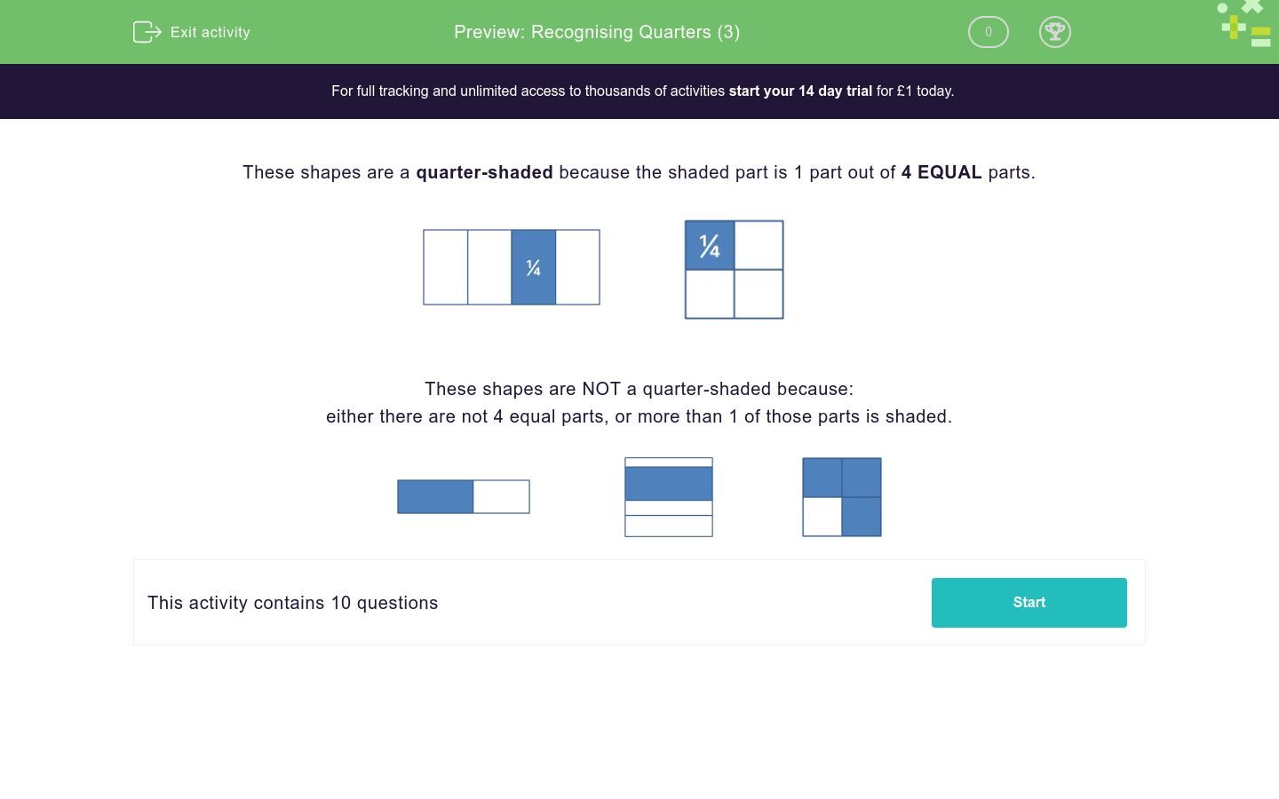 Recognising Quarters 3 Worksheet