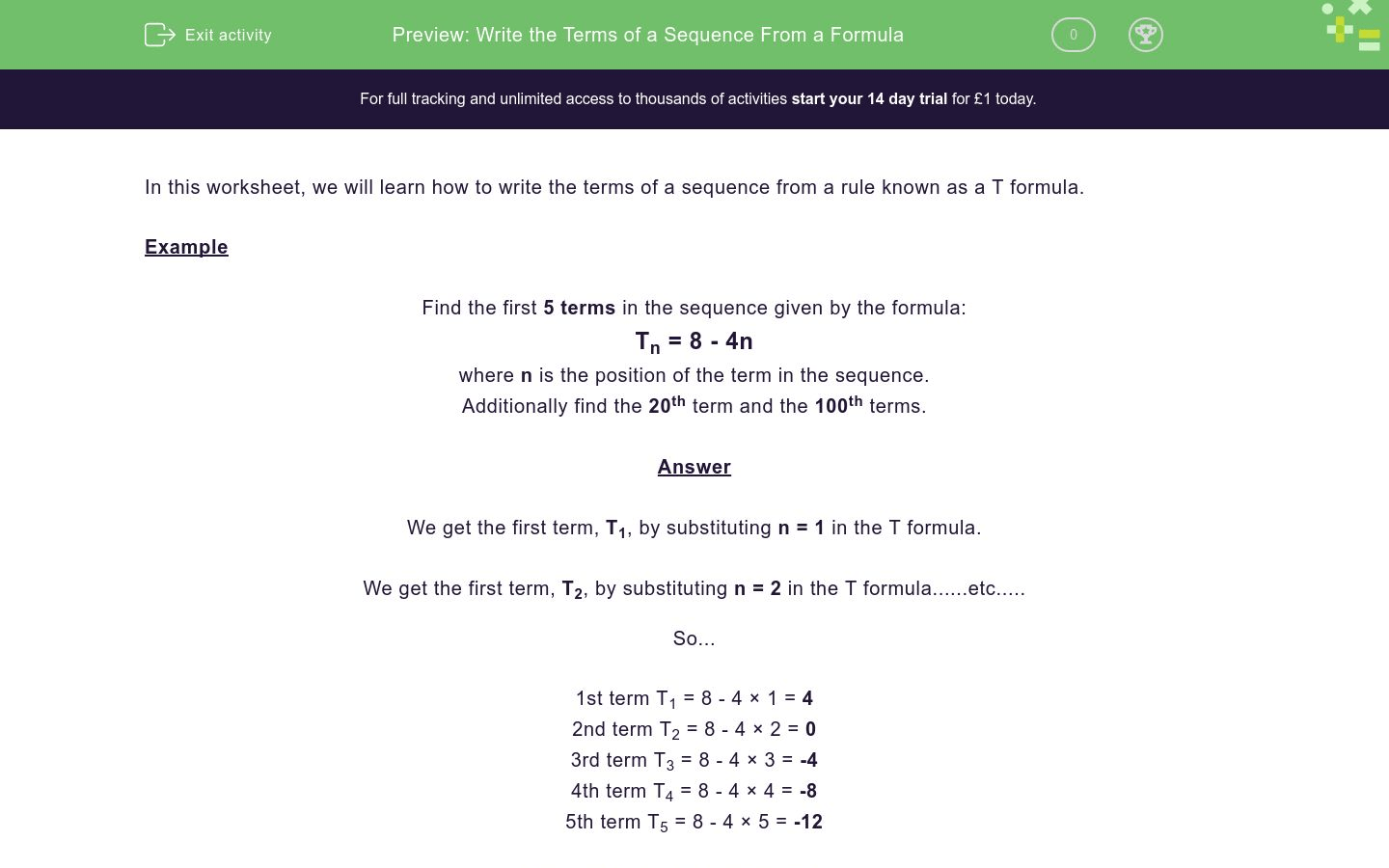Write The Terms Of A Sequence From A Formula Worksheet