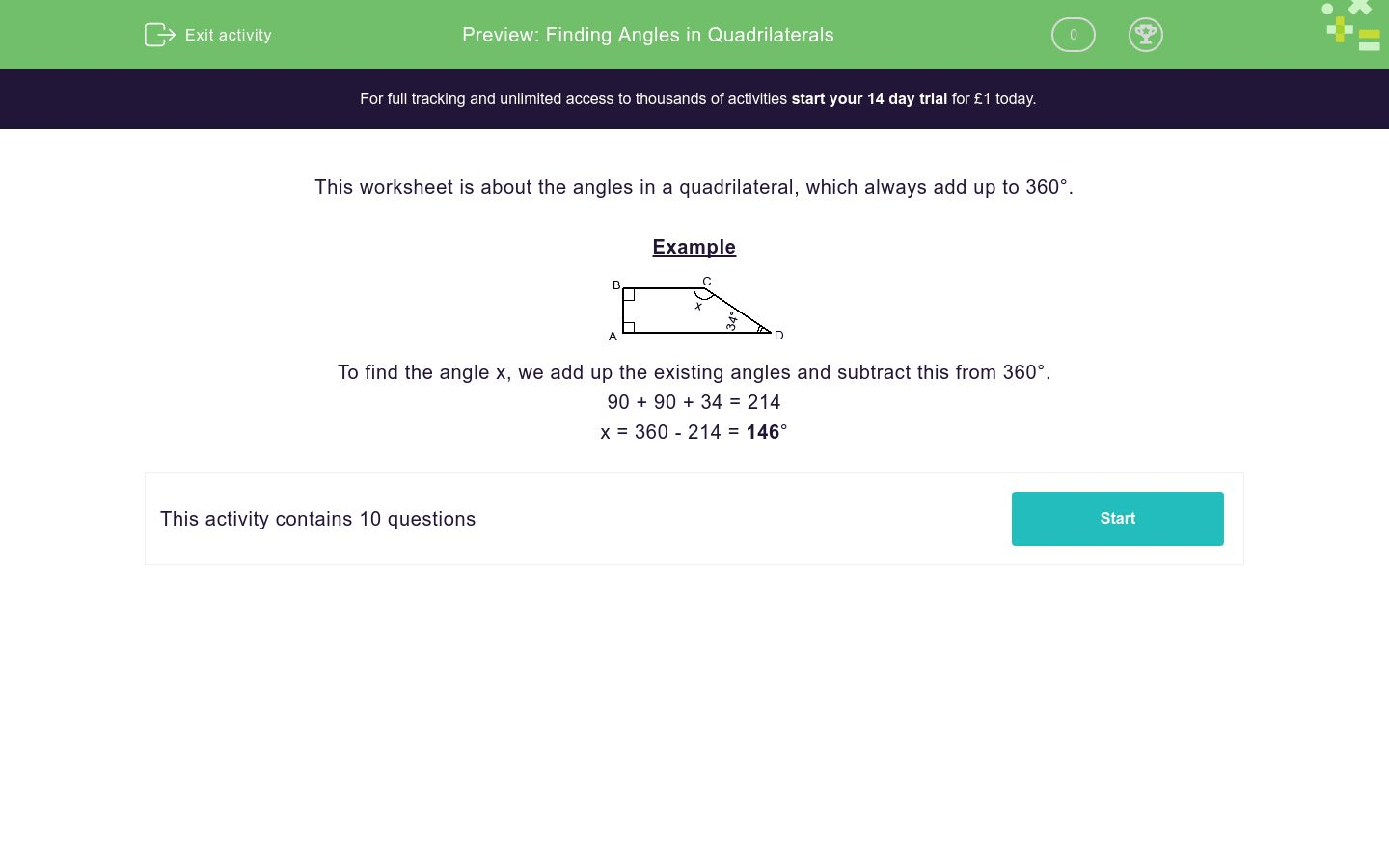 Finding Angles In Quadrilaterals Worksheet