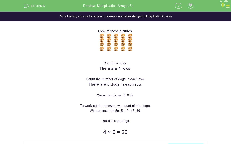 Multiplication Arrays 3 Worksheet
