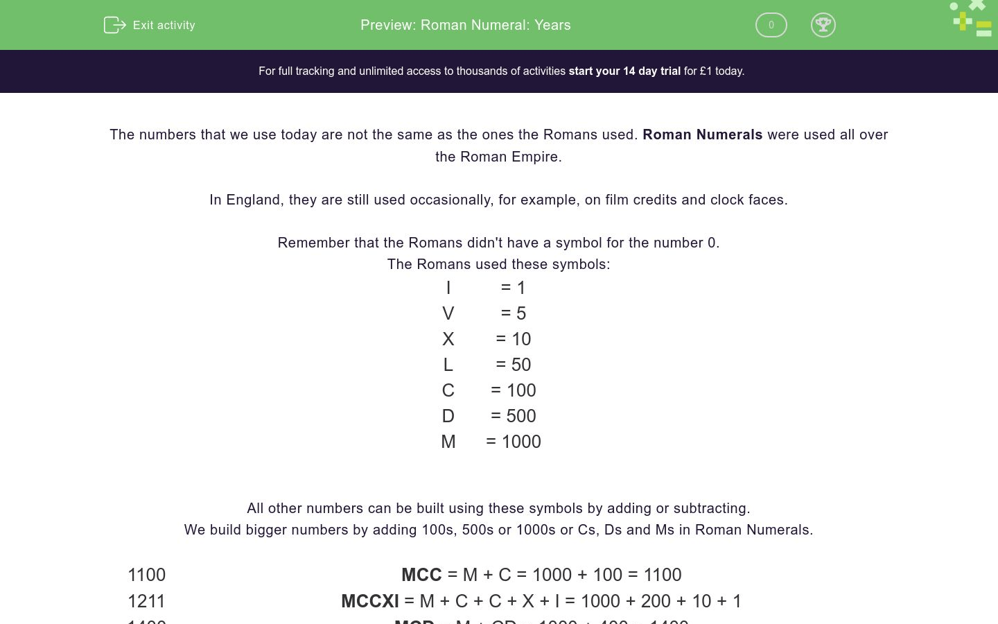 Roman Numeral Years Worksheet