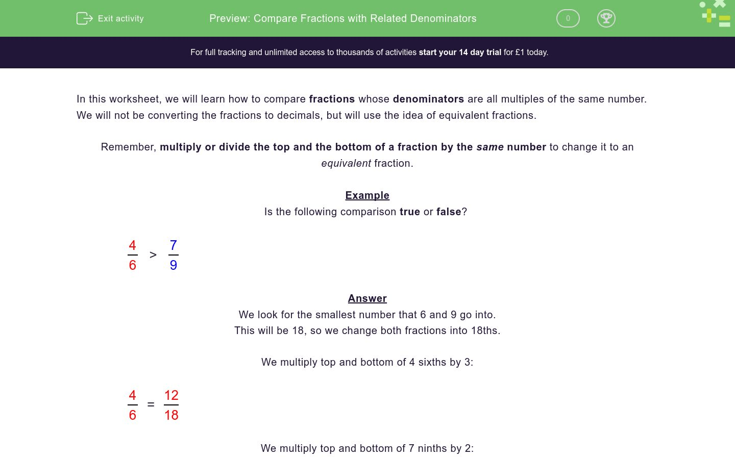 Compare Fractions With Related Denominators Worksheet