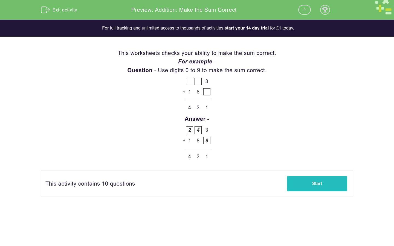 Addition Make The Sum Correct Worksheet