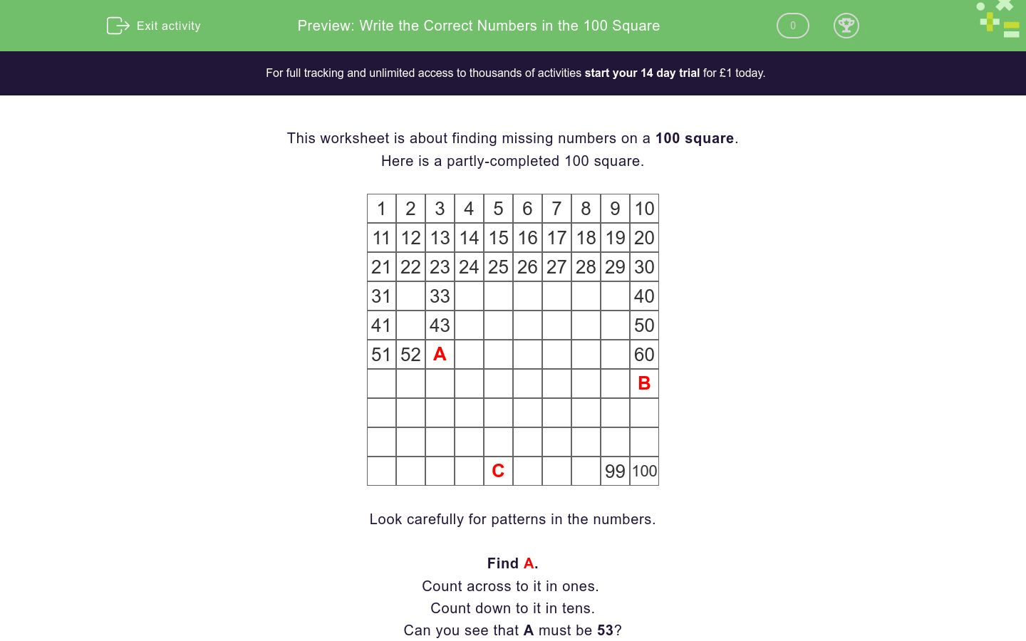 Write The Correct Numbers In The 100 Square Worksheet