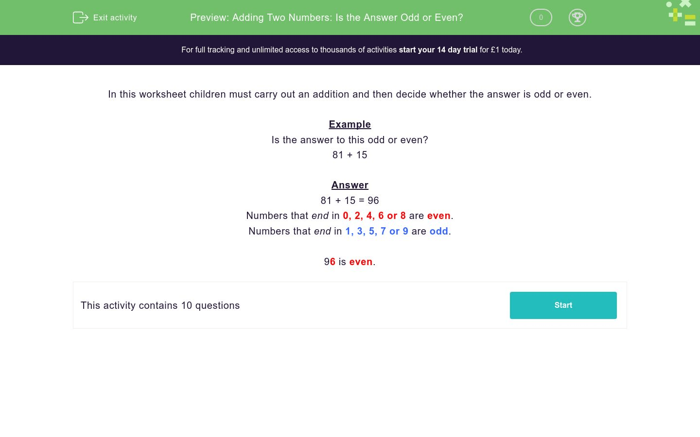 Adding Two Numbers Is The Answer Odd Or Even Worksheet