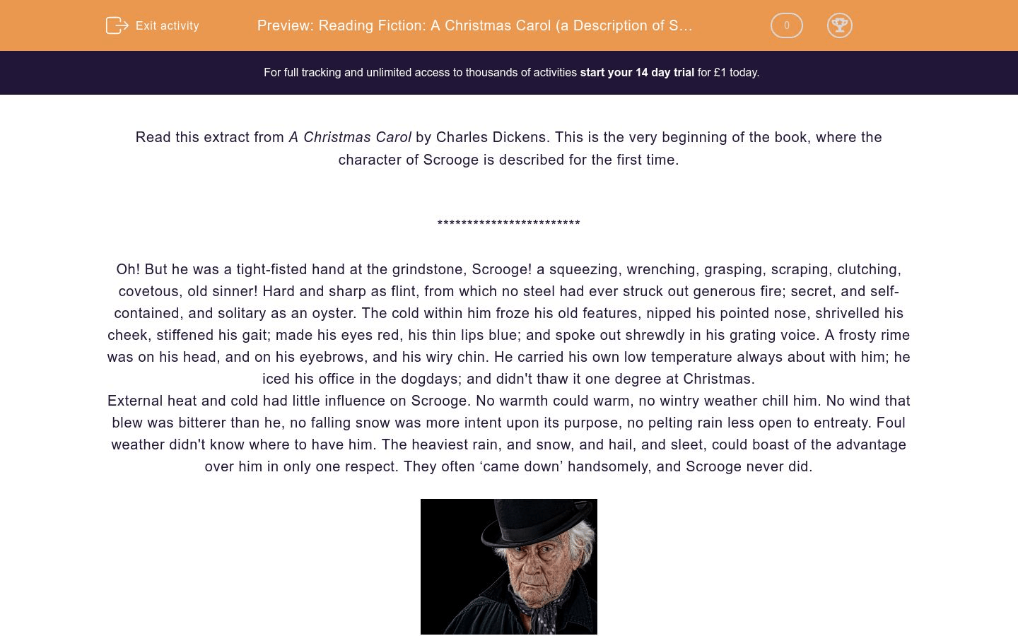 Reading Fiction A Christmas Carol A Description Of Scrooge Worksheet