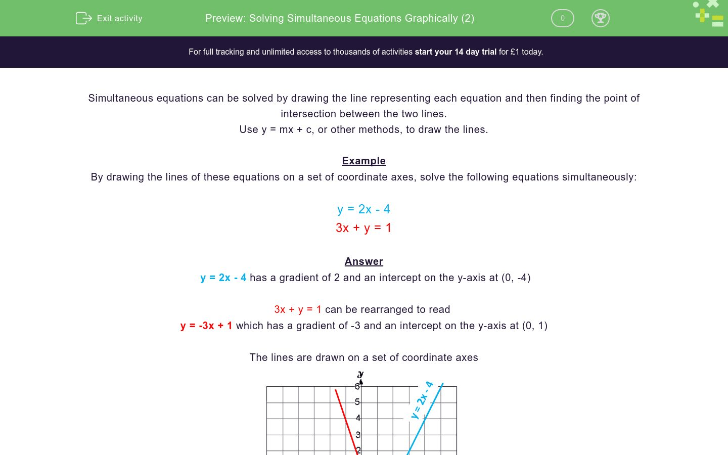 Solving Simultaneous Equations Graphically 2 Worksheet