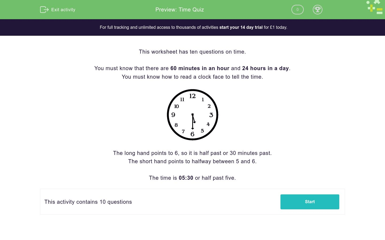 Time Quiz Worksheet