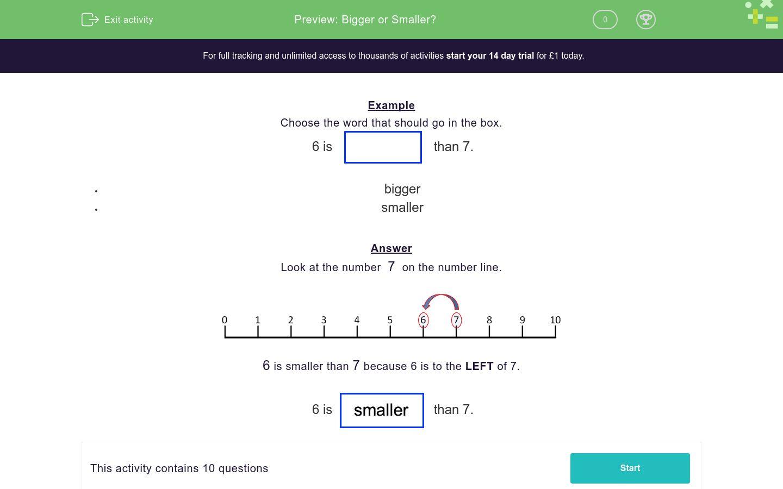 Bigger Or Smaller Worksheet