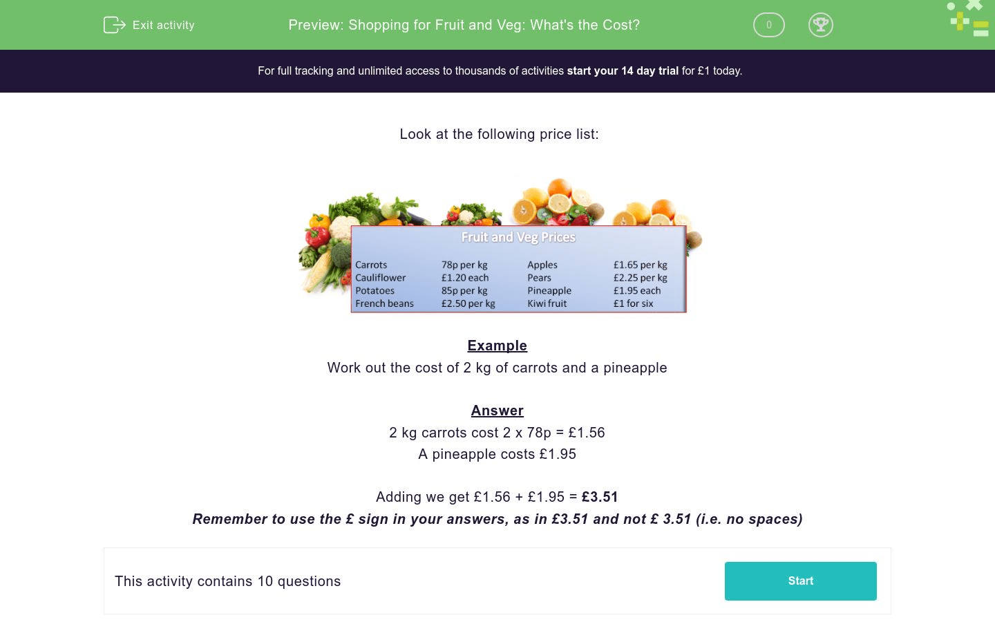 Shopping For Fruit And Veg What S The Cost Worksheet