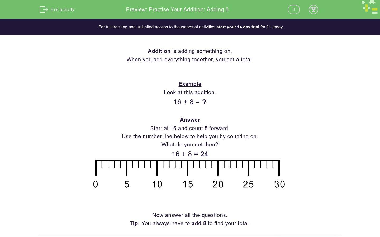 Practise Your Addition Adding 8 Worksheet