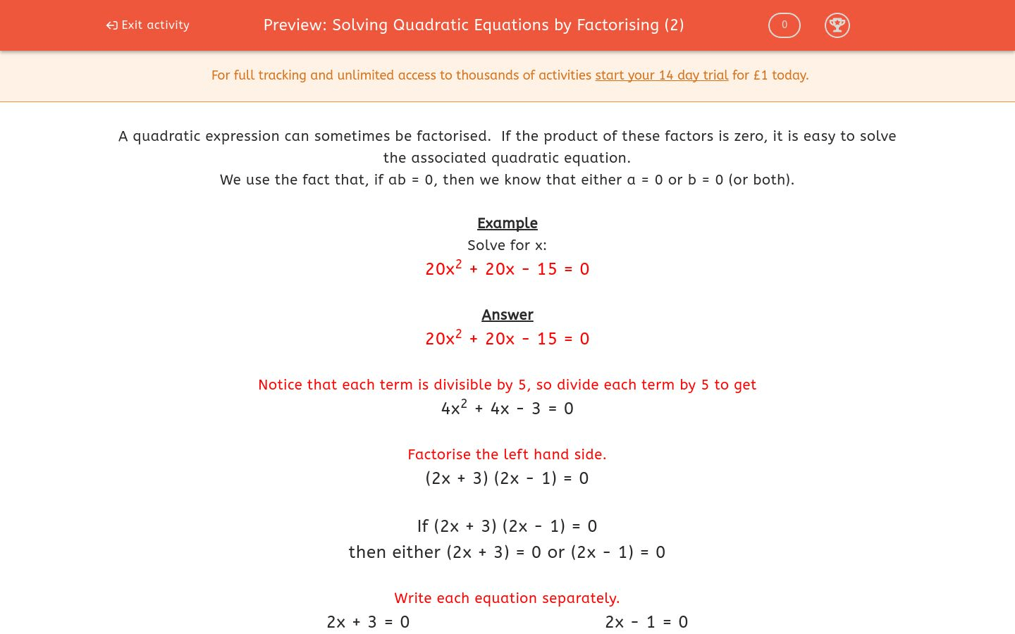 Solving Quadratic Equations By Factorising 2 Worksheet