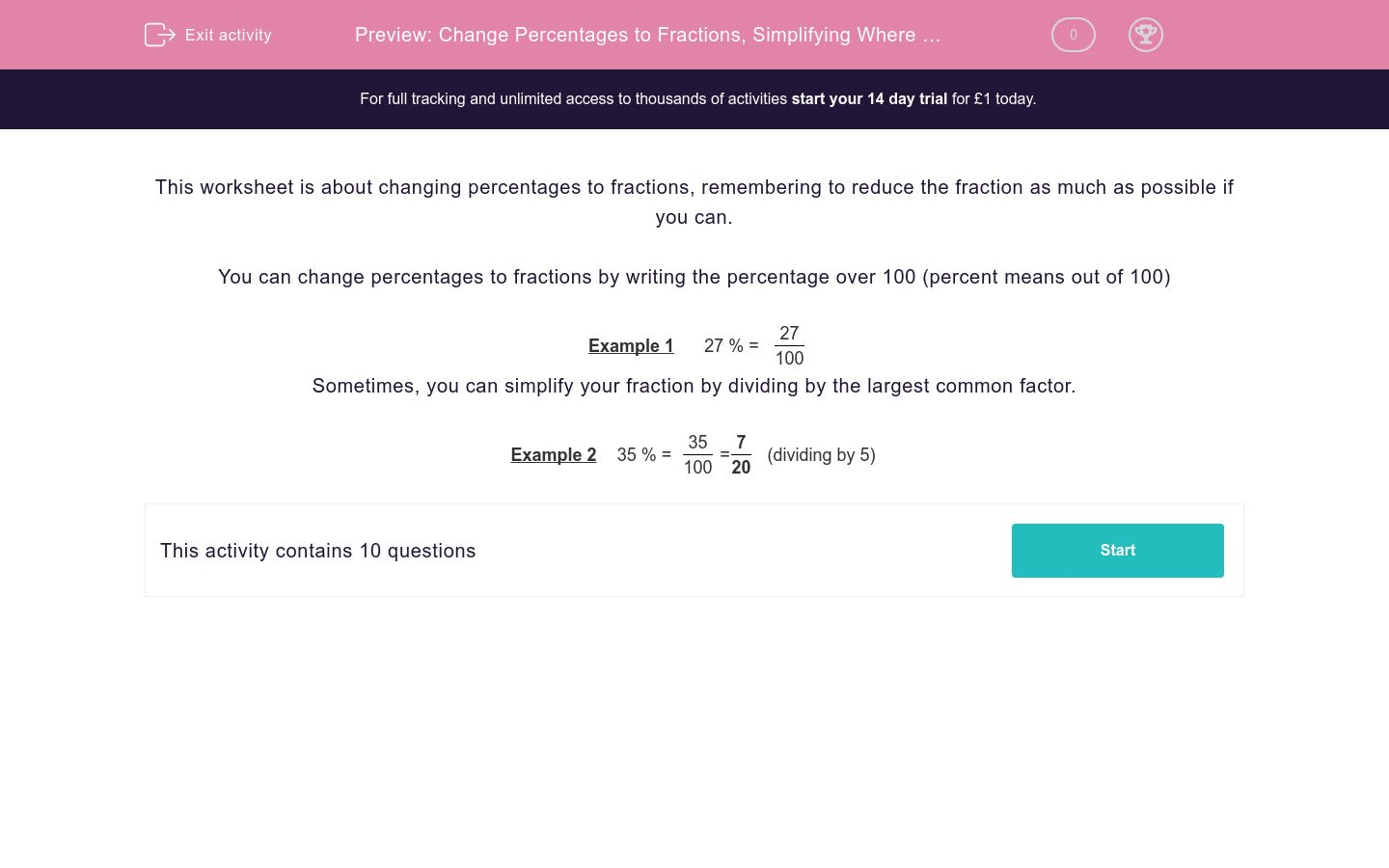 Change Percentages To Fractions Simplifying Where