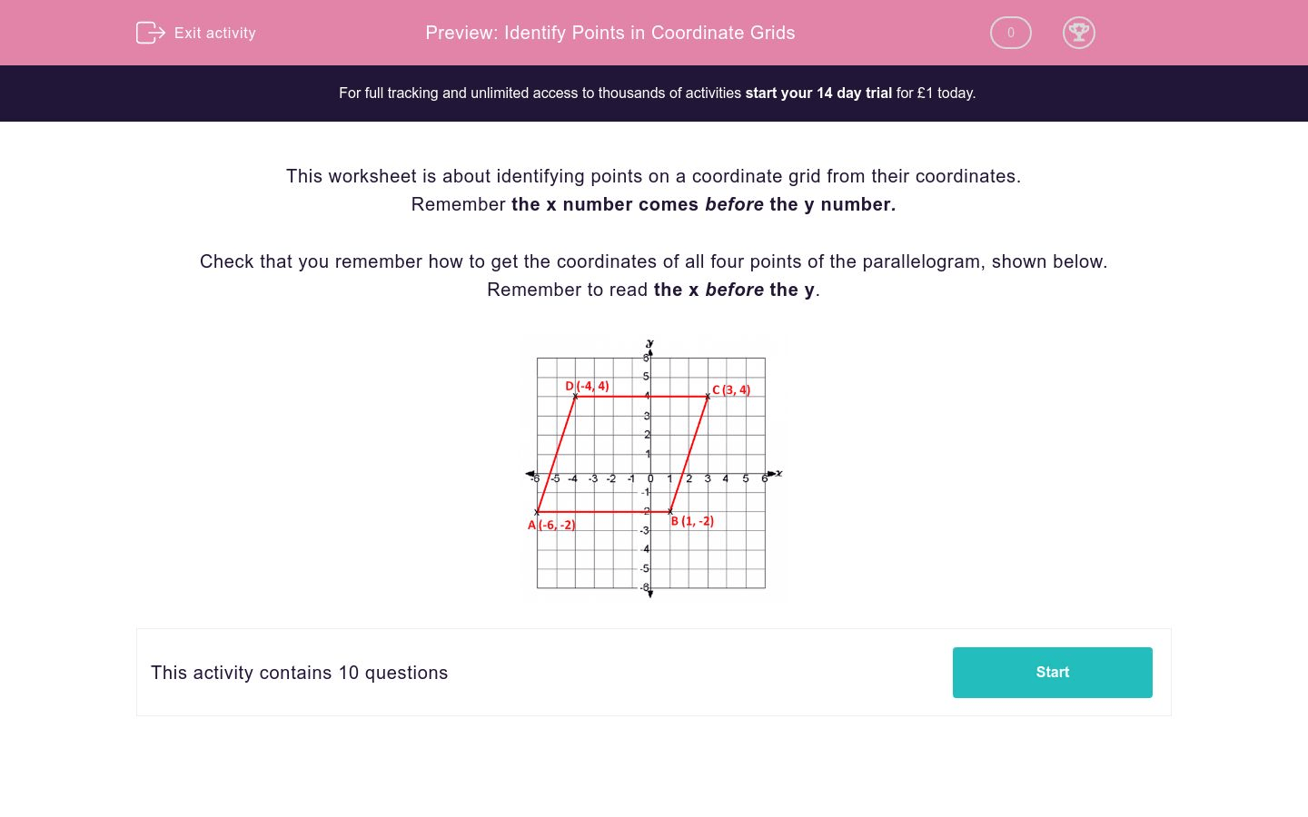 Identify Points In Coordinate Grids Worksheet