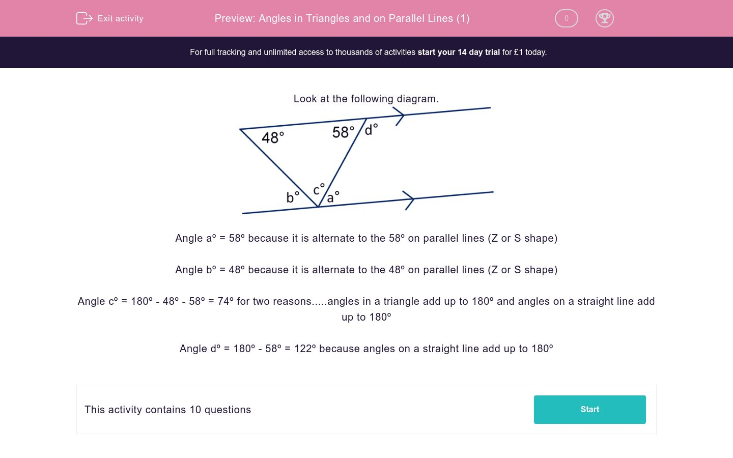 Angles In Triangles And On Parallel Lines 1 Worksheet