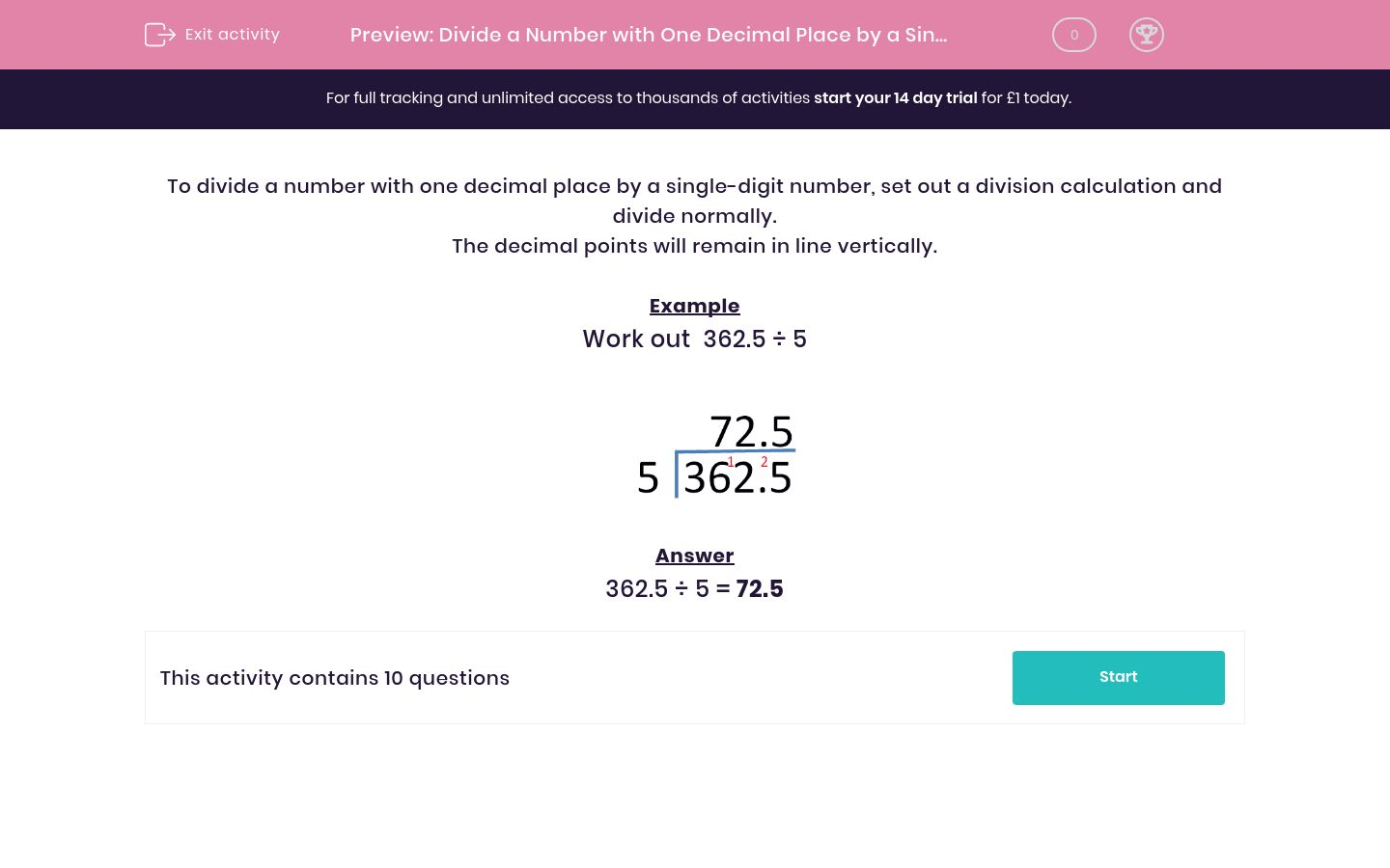 Divide A Number With One Decimal Place By A Single Digit