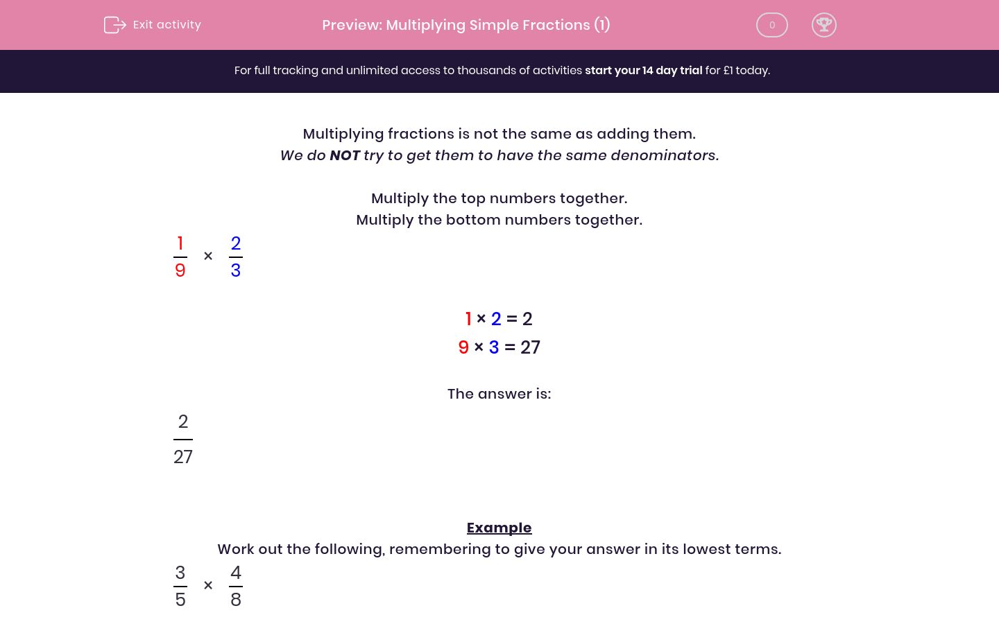 Multiplying Simple Fractions 1 Worksheet