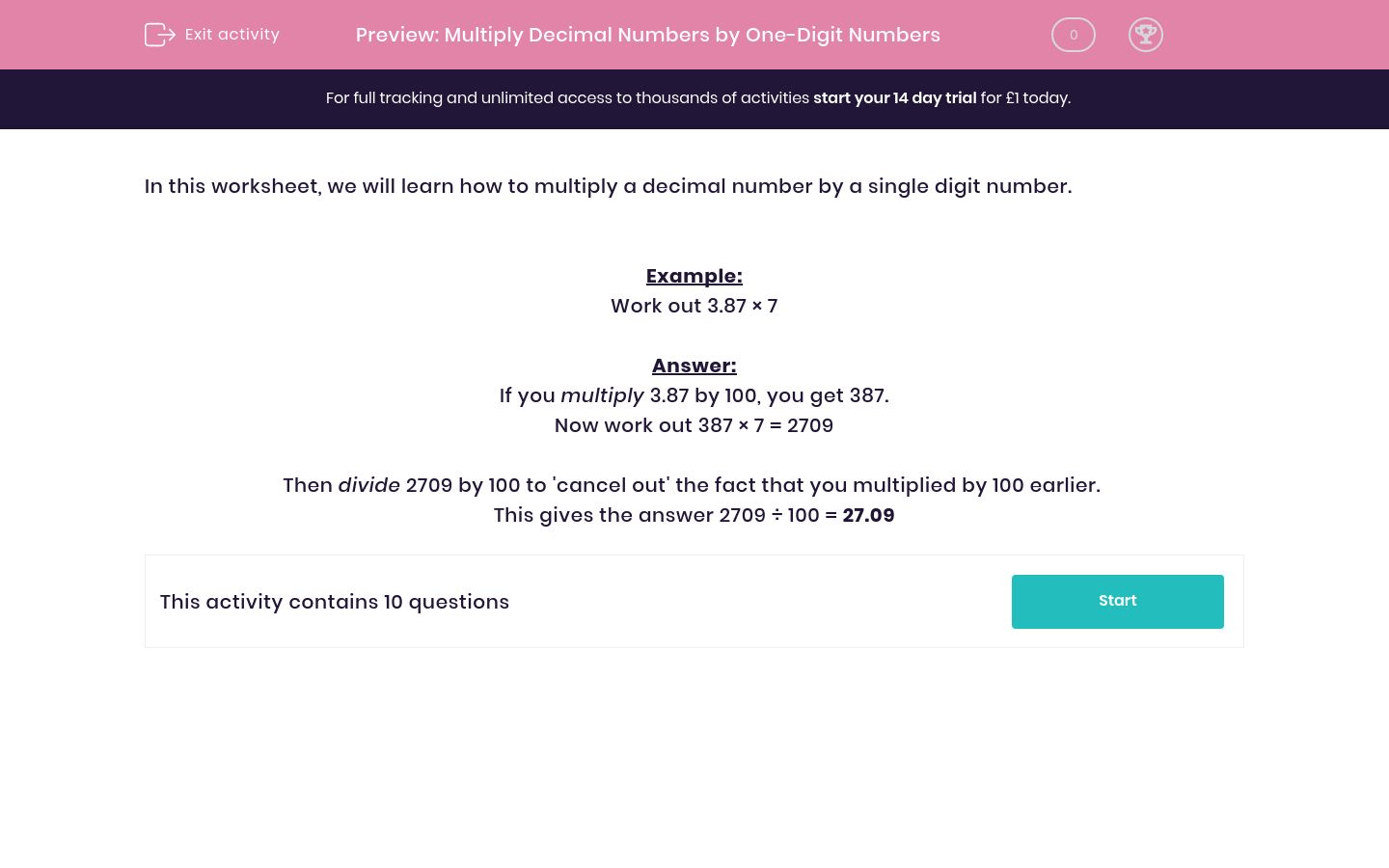 Multiply Decimal Numbers By One Digit Numbers Worksheet