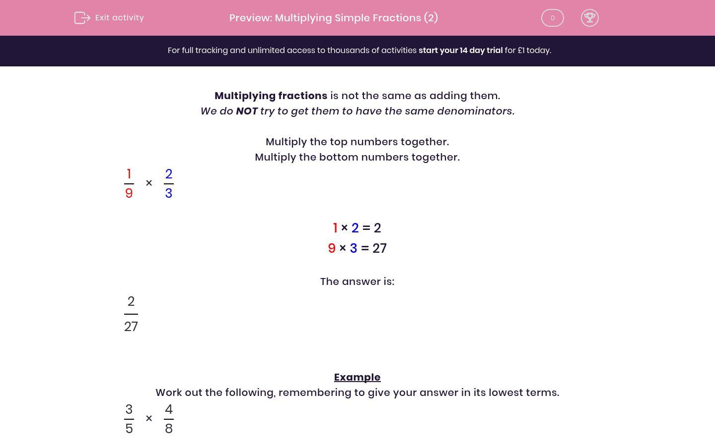 Multiplying Simple Fractions 2 Worksheet