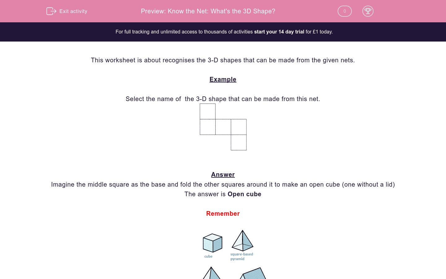 Know The Net What S The 3d Shape Worksheet