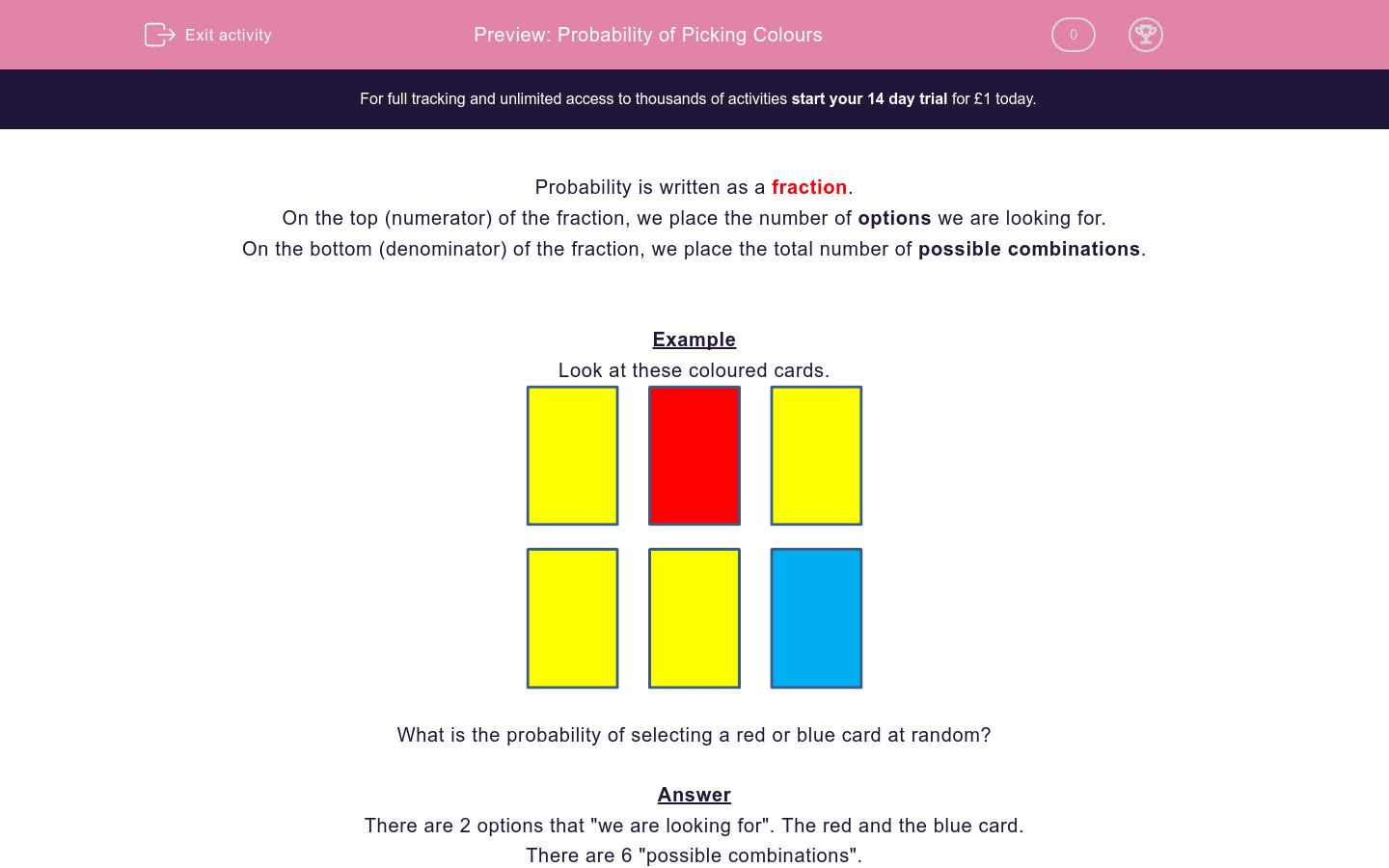 Probability Of Picking Colours Worksheet