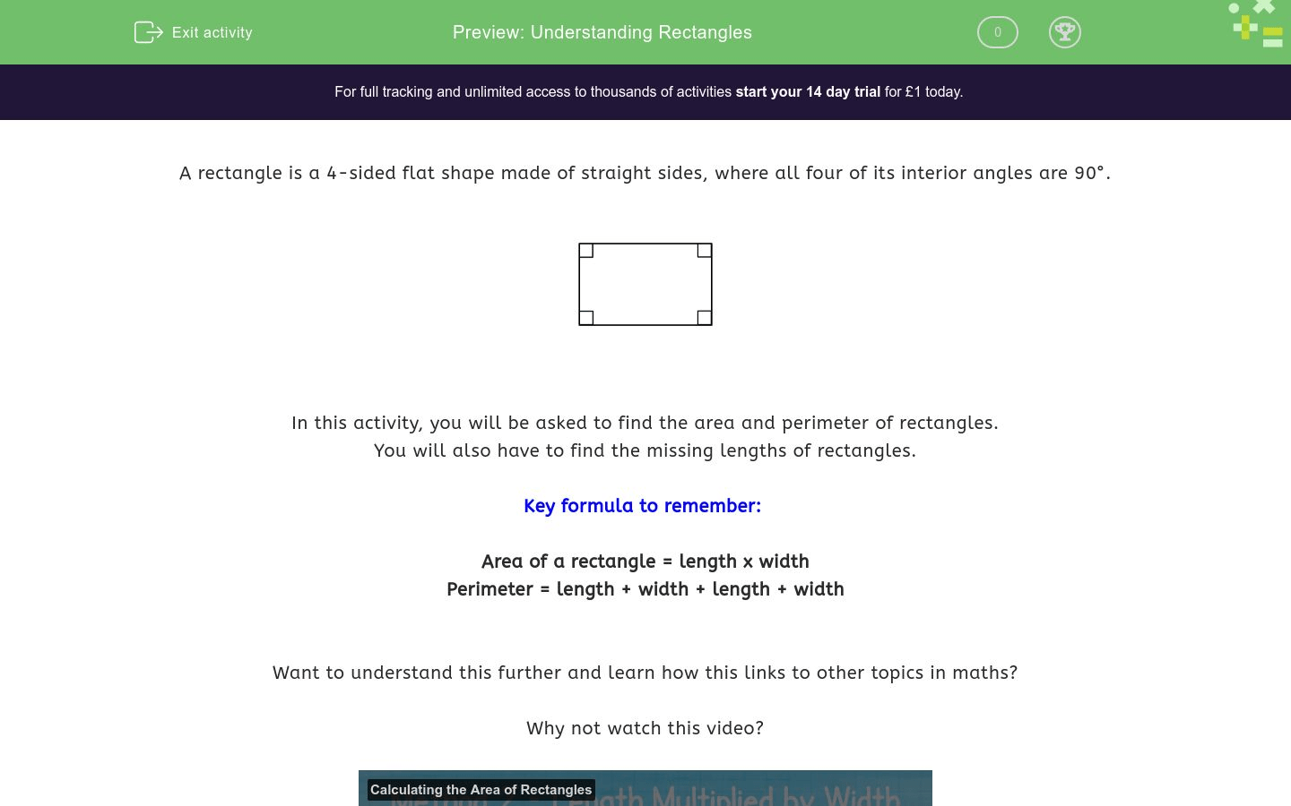 Understanding Rectangles Worksheet