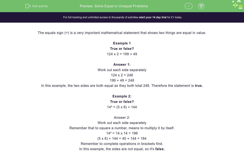 Solve Equal Or Unequal Problems Worksheet