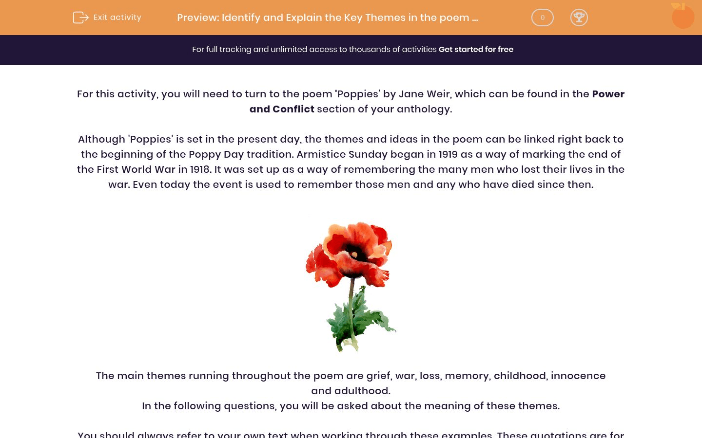 Identify And Explain The Key Themes In The Poem Poppies